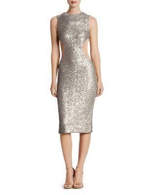 Dress The Population Ryan Side Cutout Sequin Midi Dress In Platinum