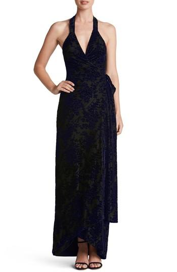 Dress The Population Erica Floral Velvet Wrap Gown In Royal Purple/ Black