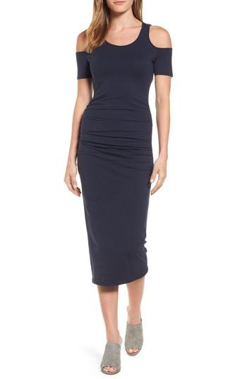 Michael Stars Cold Shoulder Body-con Dress In Navy