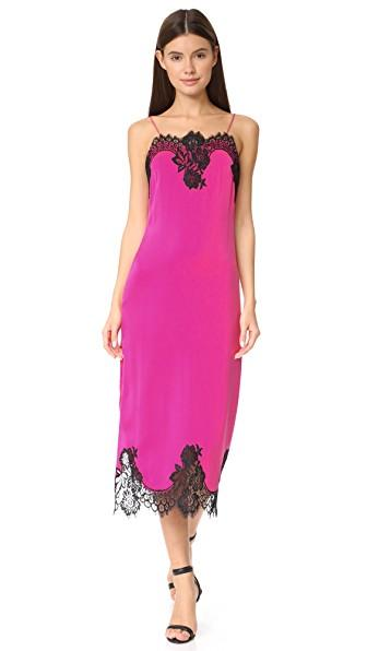 Alice And Olivia Luna Lace-trimmed Stretch-silk Midi Dress In Fuchsia Black
