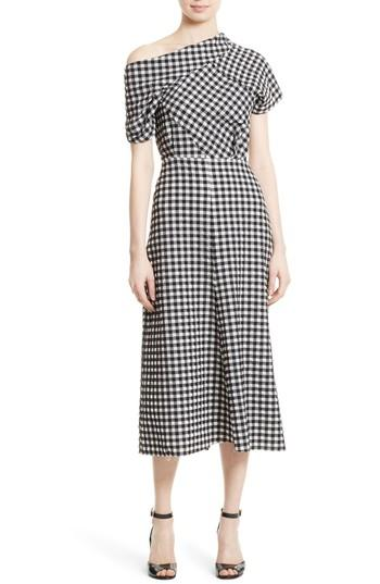 Rachel Comey Pout Gingham Stretch-cloquÉ Midi Dress In Black