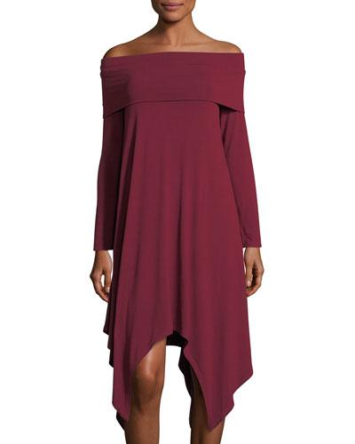 Bcbgmaxazria Off The Shoulder Knit A-line Dress In Deep Cranberry
