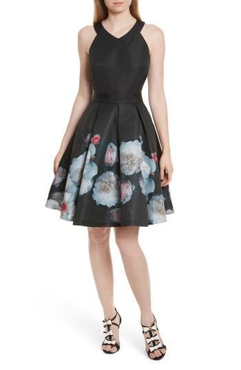 Ted Baker Jelina Chelsea Floral Fit & Flare Dress In Black