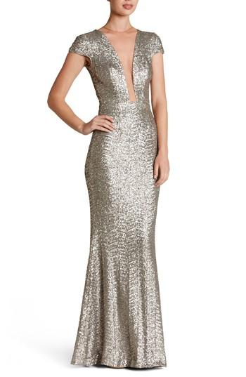 Dress The Population Michelle Sequin Gown In Platinum