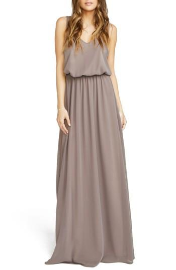 Show Me Your Mumu Kendall Soft V-back A-line Gown In Dune