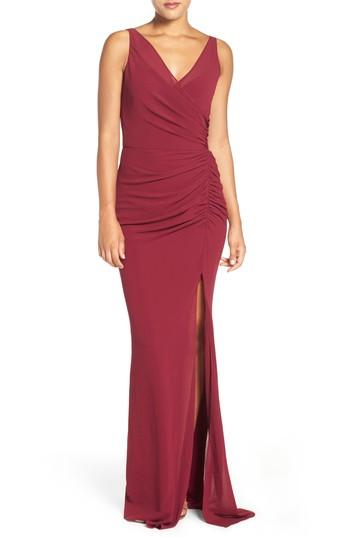 Katie May Wrap Front Chiffon Gown In Bordeaux