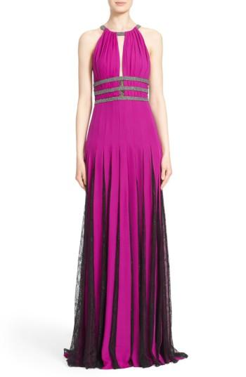 Badgley Mischka Couture Silk Halter Gown With Lace Pleats In Orchid/ Smoke