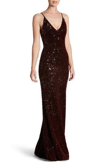 Dress The Population Vanessa Velvet Sequin Gown In Burgundy