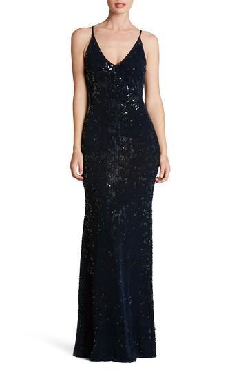 Dress The Population Vanessa Velvet Sequin Gown In Midnight Blue