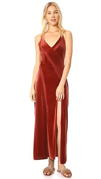 Free People Spliced Velour Maxi Dress In Bronze