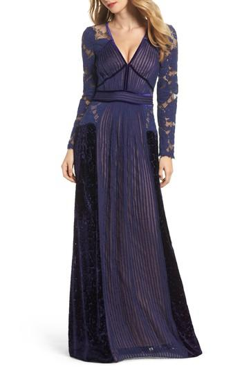 Tadashi Shoji Mixed Media A-line Gown In Notte