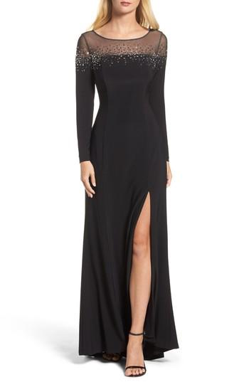 Vince Camuto Embellished Jersey Gown In Black