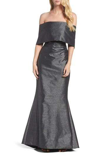 Vince Camuto Ruched Metallic Knit Off The Shoulder Gown In Silver