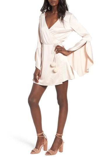 Majorelle Hex Satin Flute Sleeve Dress - Pink In Ritual