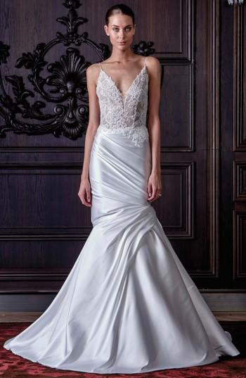 Monique Lhuillier Hadley Chantilly Lace & Mikado Trumpet Gown In Silk White/ Nude
