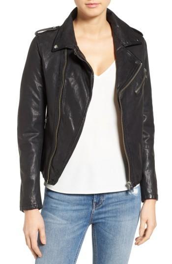 Lamarque Washed Lambskin Leather Moto Jacket In Black