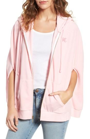 Juicy Couture Velour Cape Hoodie In Riot Blush