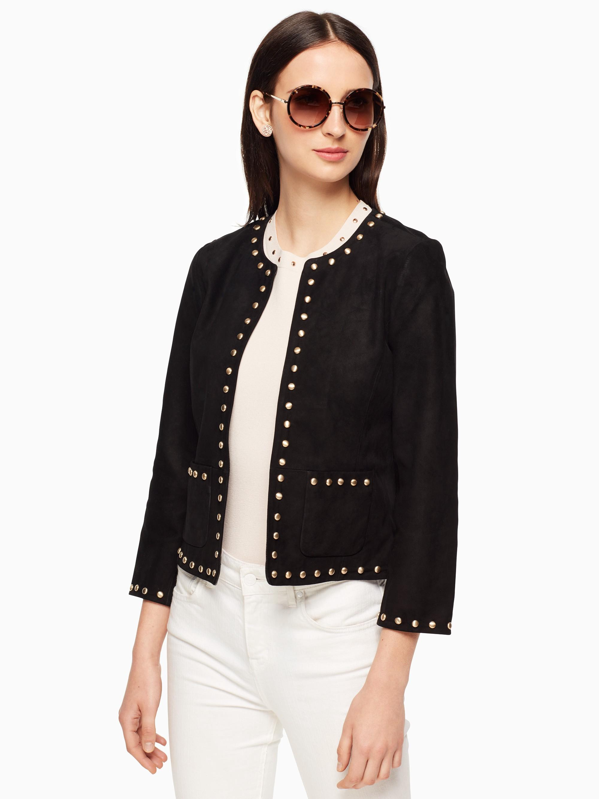 Kate Spade Studded Suede Jacket In Black