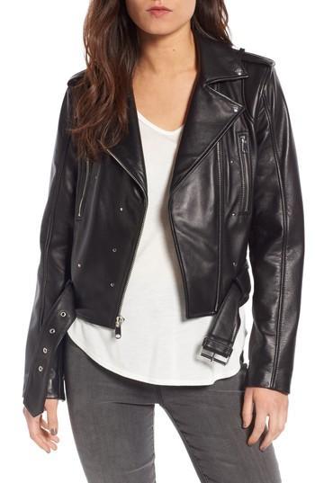 Sam Edelman Starburst Studded Crop Moto Jacket In Black