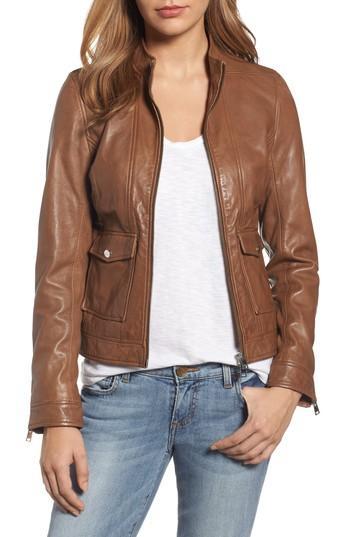 Lamarque Patch Pocket Leather Biker Jacket In Tobacco