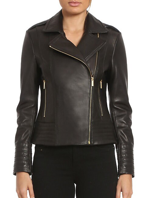 Badgley Mischka Quilted Leather Biker Jacket In Black