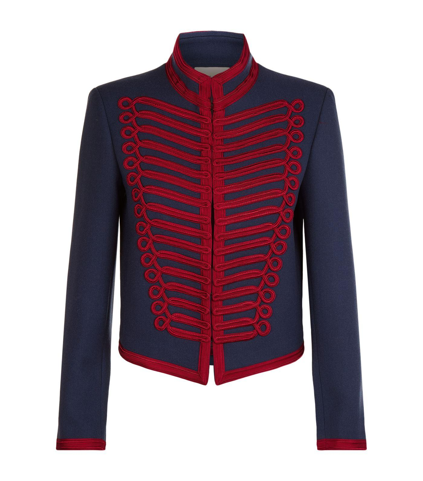 Sandro Embroidered Military Jacket In Cobalt