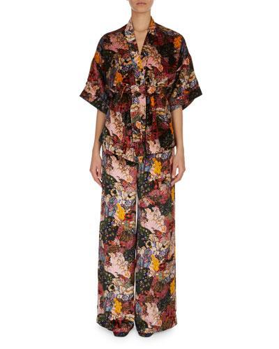 Erdem Zeta Floral Print Velvet Kimono Wrap Jacket In Pink Multi