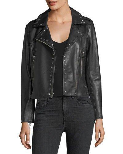 Parker Easton Studded Leather Moto Jacket In Black