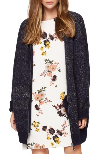 Sanctuary Sweet & Cozy Sweater Knit Bomber Jacket In Speckled Natural/ Navy