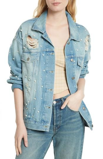 Free People Sunday Funday Denim Trucker Jacket In Indigo Blue