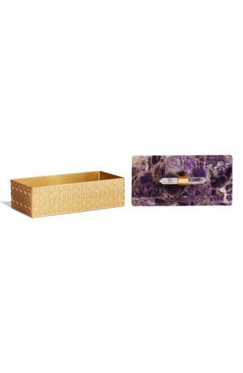 Kendra Scott Rectangle Filigree Box - Purple In Chevron Amethyst