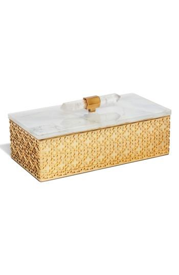 Kendra Scott Rectangle Filigree Box - White In Crackle White Mop
