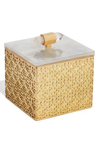 Kendra Scott Square Filigree Stone Box - White In Crackle White Mop