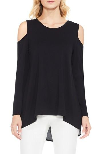 Vince Camuto Cold Shoulder Mixed Media Top In Rich Black