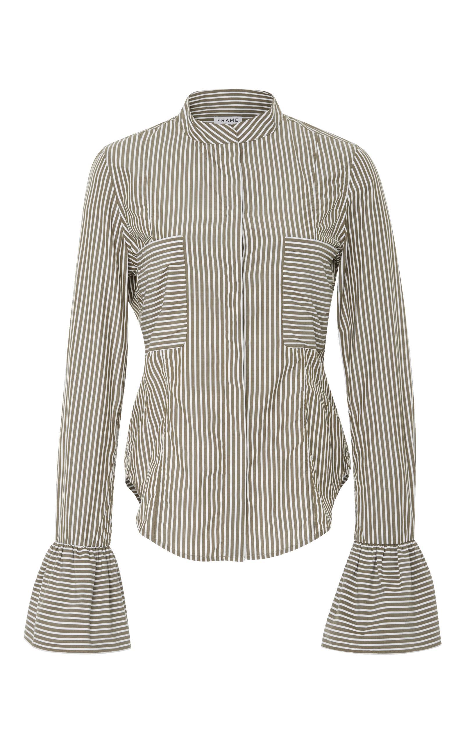 Frame Striped Cotton-poplin Shirt In Sage Multi
