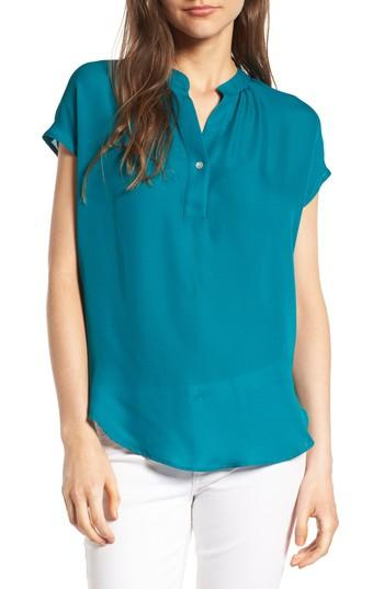 Amour Vert 'amy' Collarless Silk Blouse In Bayou Blue