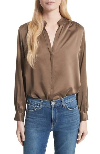 L Agence Bianca Silk Blouse In Washed Brown