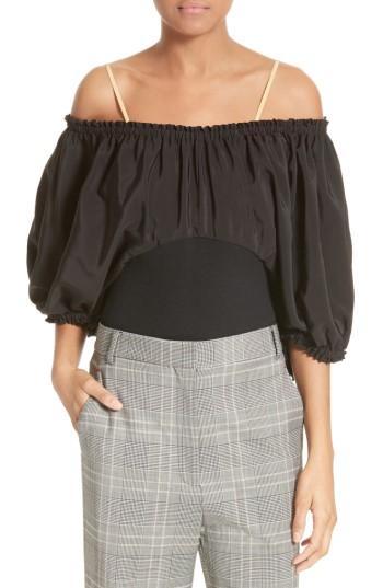Tibi Sophia Mix Media Off The Shoulder Silk Top In Black Multi