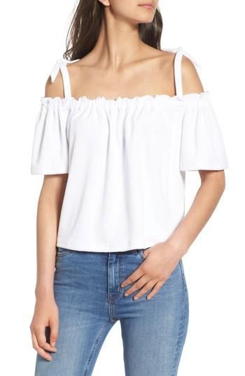 Juicy Couture Venice Beach Microterry Off The Shoulder Top In White
