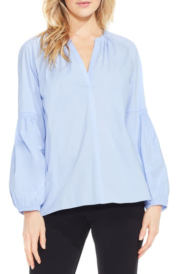 Vince Camuto Cotton Poplin Peasant Blouse In Pale Chambray