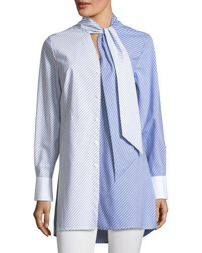 Vince Camuto Mixed Stripe Tunic In Pale Chambray