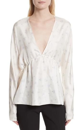 67cd8e275627a Elizabeth And James Ophelie Print Silk Blouse In Alabaster