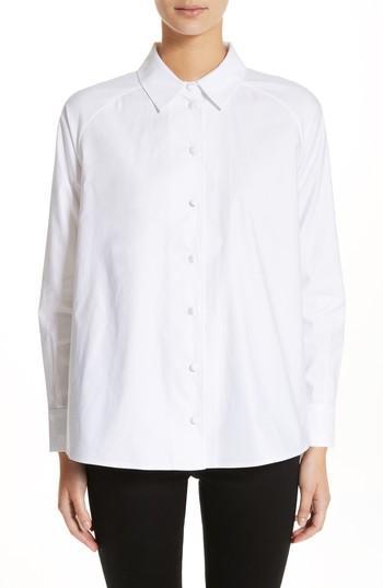 Co Tton Poplin Top In White