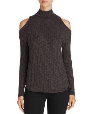 Michael Stars Cold-shoulder Mock Neck Sweater In Black