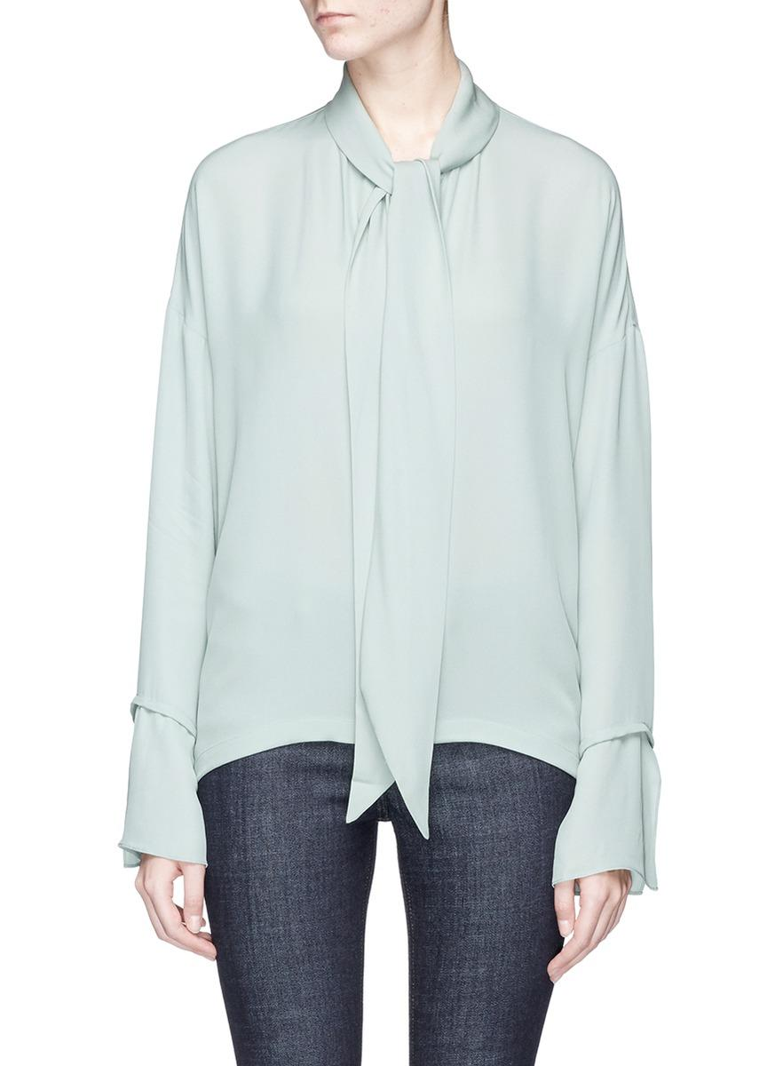Theory Scarf Silk Crepe Shirt In Winter Green