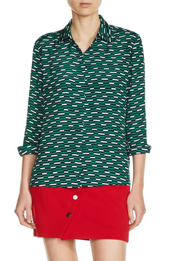 Maje Print Shirt In Green Print