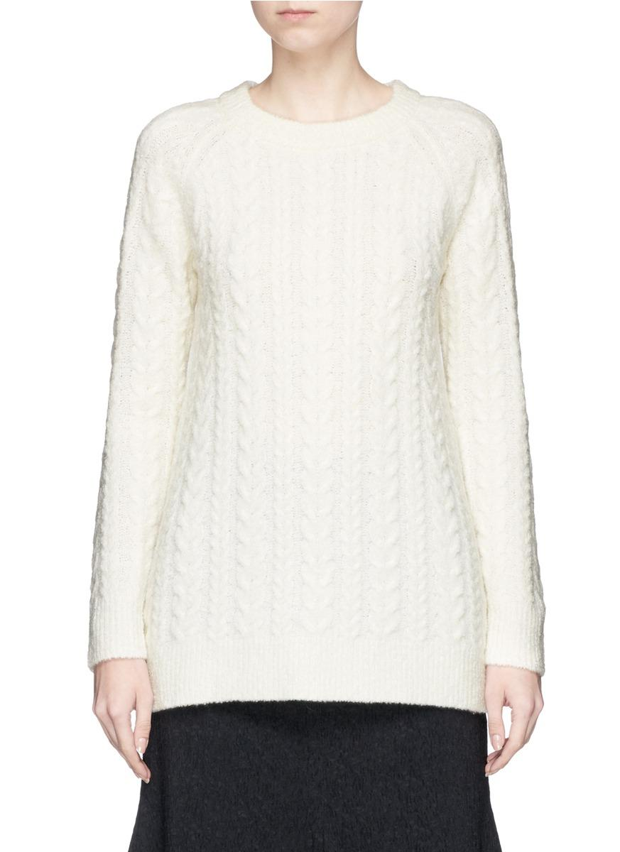 Co Cable Knit Cashmere Blend Sweater In Ivory