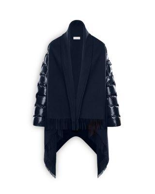 Moncler Wool Cape W/ LaquÉ Nylon Down Sleeves In Midnight