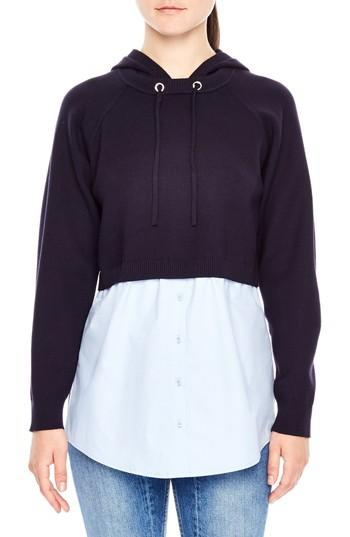 Sandro Horia Hooded Combo Sweater In Navy