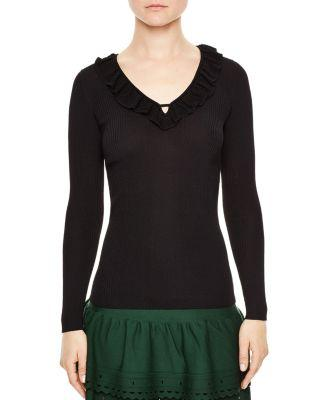 Sandro Noella Notched-neck Ruffled Sweater In Black